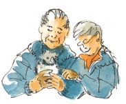 Ted and Betsy Lewin hold a puffling