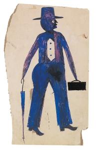 Blue Man With Umbrella