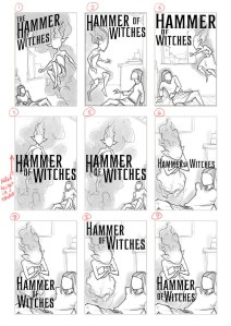 sketch with typography options for Hammer of witches cover