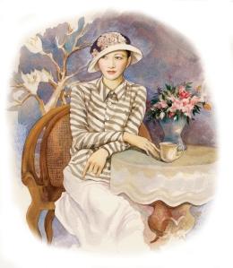Anna May Wong in Shining Star by Paula Yoo, artwork by in Lin Wang