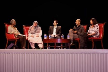 NCTE Opening Session Panel, from L to R: Rudine Sims Bishop, Rukhsana Khan, Matt de la Peña, Christopher Myers, Mitali Perkins
